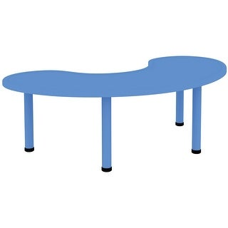2xhome Adjustable Height Kids Table Half Moon Toddler Child Children Preschool Daycare School Plastic Activity Metal Leg Blue