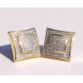 Men's Solid 14k Gold Large Square Lab Diamond Screw Back Earrings