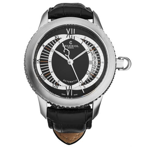 Charriol Men's CO46LES.361.001 'Columbus' Anthracite Dial Black Leather Strap Limited Edition Watch