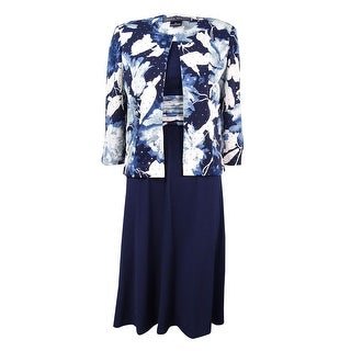 Jessica Howard Women's Floral-Print Midi Dress and Jacket - Blue