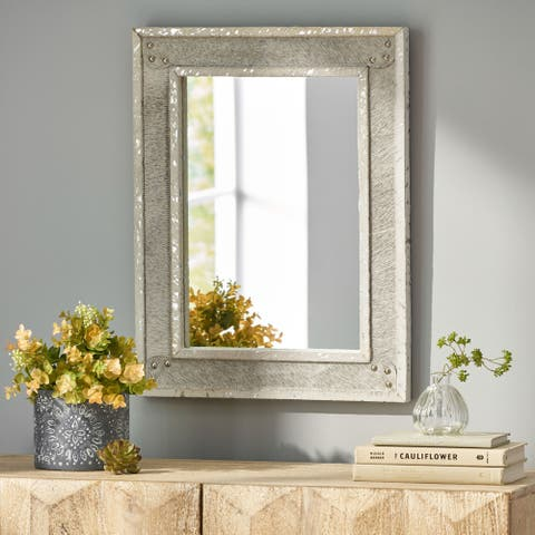 Dyar Indoor Leather Handcrafted Studded Rectangular Wall Mirror by Christopher Knight Home