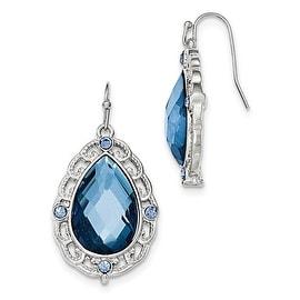 Silvertone Blue Epoxy Shepherds Hook Earrings