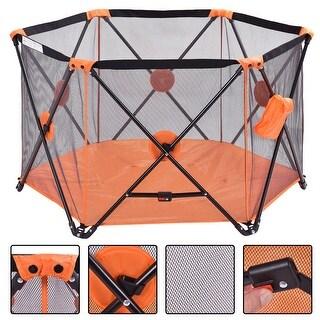 Costway Baby Play Pen Folding Infant Pop N' Play Portable Playard (orange)