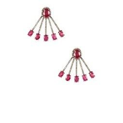 Ruby Ear Jackets - Jacket Earrings - Rhinestone Earrings - Ruby Red Earrings - Crystal Ear Jackets