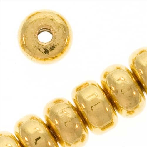 22K Gold Plated Thick Heishe Spacers Beads 4.5mm x 2.5mm (144). Opens flyout.