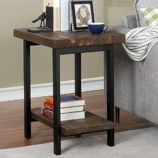 Link to Carbon Loft Lawrence Metal and Reclaimed Wood End Table with Shelf Similar Items in Living Room Furniture