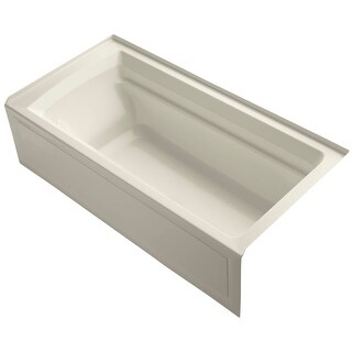 "Kohler K-1125-RA Archer Collection 72"" Three Wall Alcove Soaker Bath Tub with Slotted Overflow, Armrests, Lumbar Support,"
