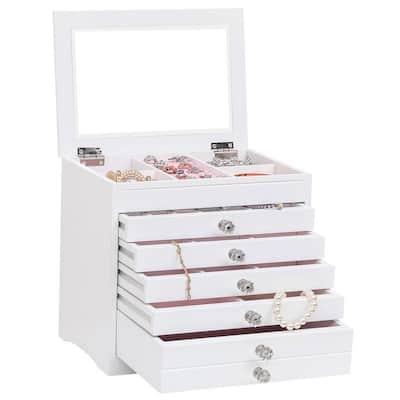 High Large Gloss Wooden Jewellery Box Armoire Bracelet Organizer Storage 5 Layers