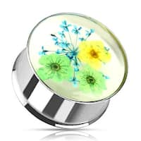 Green Blue Dried Flower Incased Clear Acrylic Double Flared 316L Surgical Steel Plug (Sold Individually)