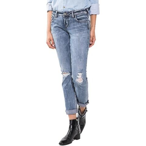 Silver Jeans Co. Womens Sam Boyfriend Jeans Slim Leg Destroyed