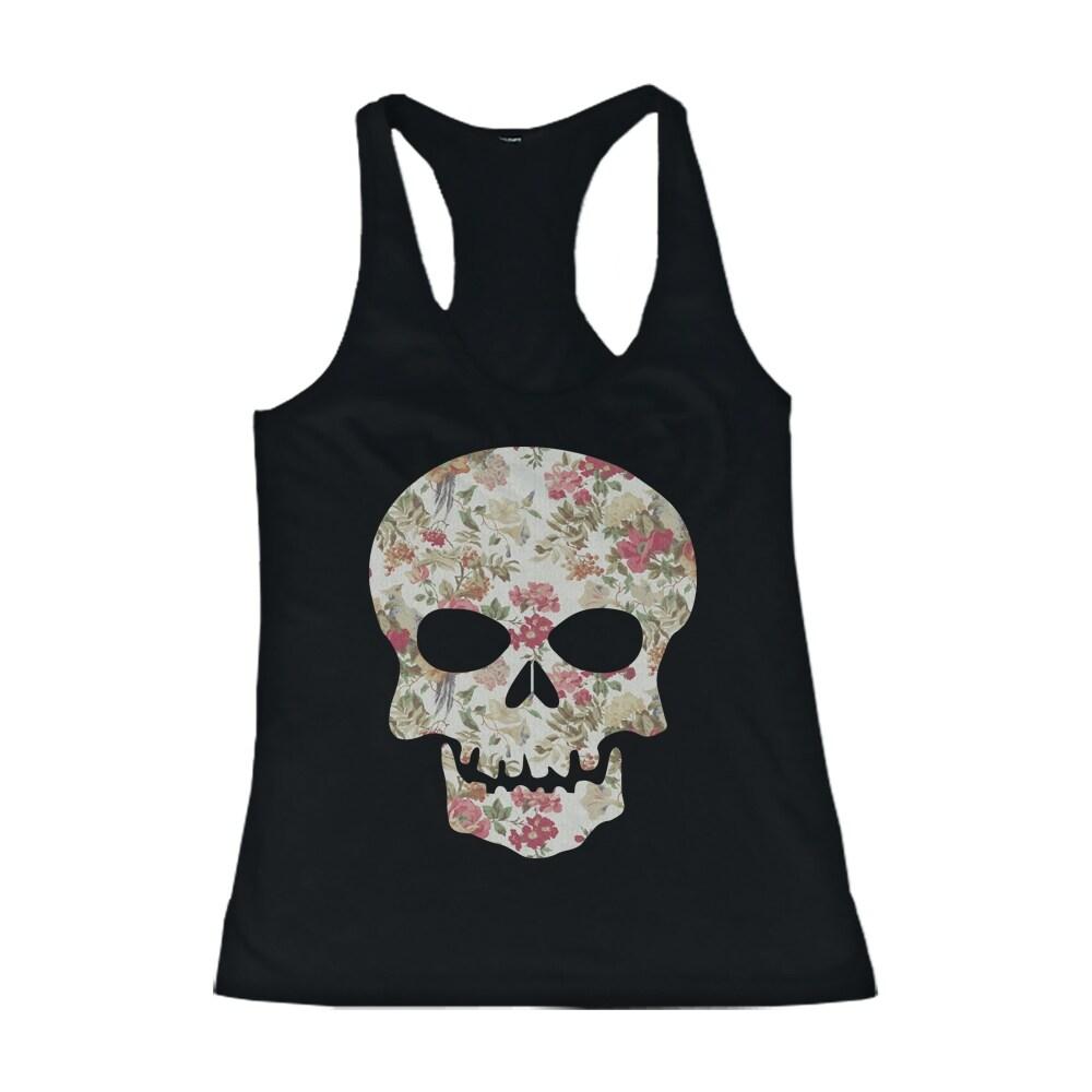 Floral Skull Womens Tank Top Flower Pattern Racer back Tank for Halloween