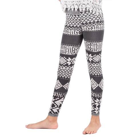 Lori & Jane Girls Black White Geometric Stretchy Soft Leggings