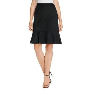 T Tahari Womens Bellamy Flounce Skirt Faux Suede Ruffle