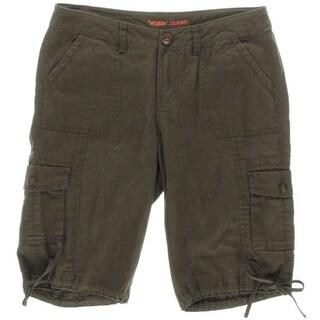 Worn Womens Sophia Linen Low Rise Cargo Shorts - 4