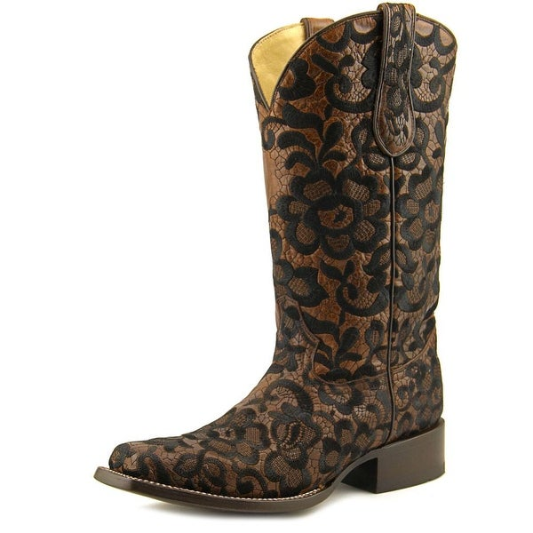 Corral G1234 Women Square Toe Leather Black Western Boot