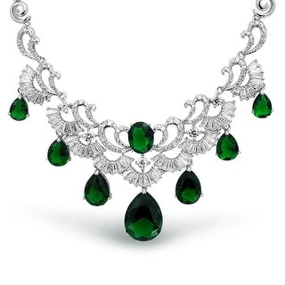 Bling Jewelry Rhodium Plated Teardrop CZ Green Art Deco Style Bridal Collar Necklace 16 Inches