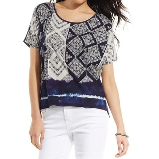 DKNY Womens Pullover Top Cotton Printed