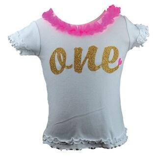 Reflectionz Baby Girls Hot Pink Glitter Gold Ruffle T-Shirt 12-18M