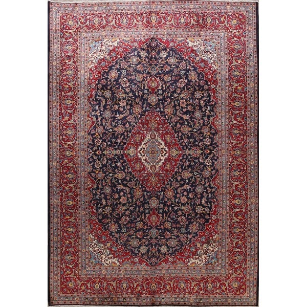 Floral Kashan Persian Area Rug Hand Knotted Navy Blue Large Carpet 9 9 X 12 9 On Sale Overstock 31609301
