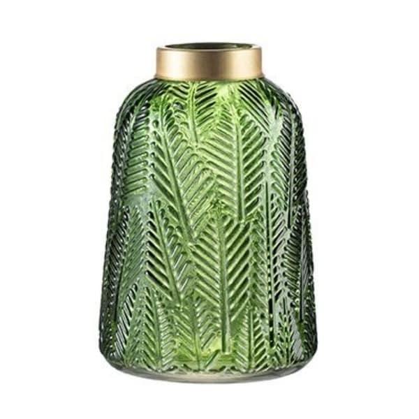 "9.5"" Green and Gold Fern Leaf Design Modern Glass Vase - N/A"