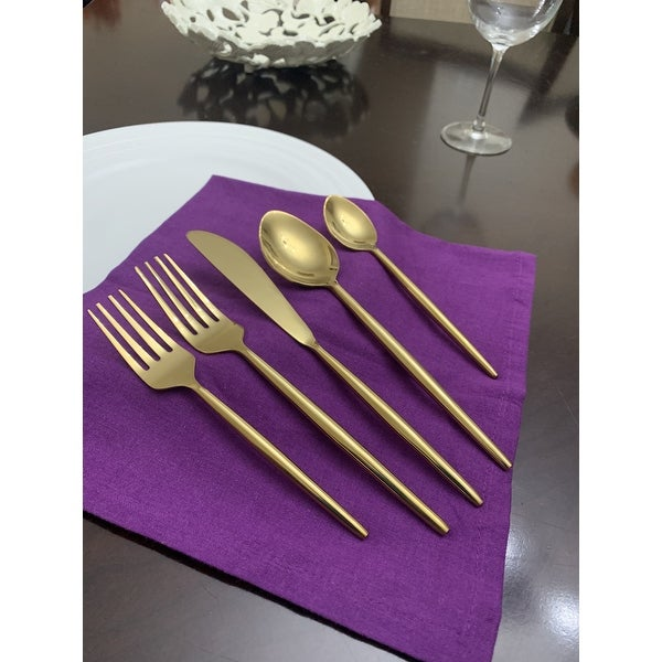Vibhsa Flatware Gold 5 Piece Place Setting. Opens flyout.
