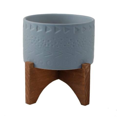 "Mid-Century Modern Planter 5"" Caveman Ceramic Planter on Wood Stand"