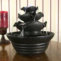 Sunnydaze Three Tier Cascading Tabletop Fountain w/ LED Lights - Options Available