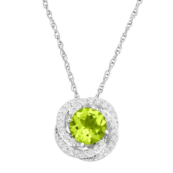 2 1/3 ct Natural Peridot & Created White Sapphire Pendant in Sterling Silver - Green