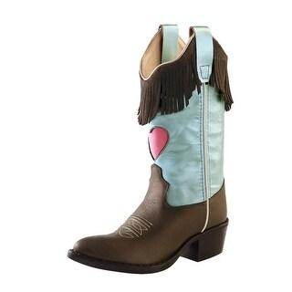 Old West Cowboy Boots Girls Kids Fringe Heart J Toe Brown Blue