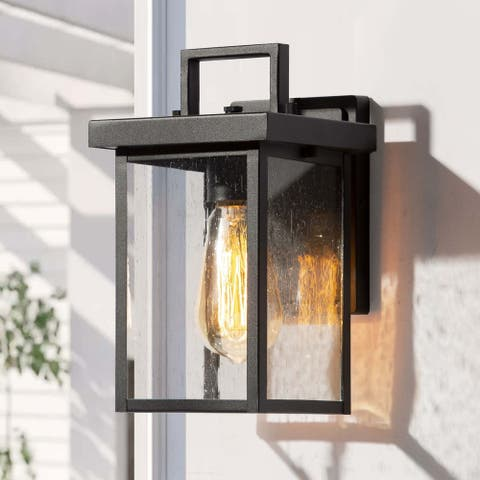 """Modern 1-light Square Black Outdoor Wall Sconce Metal Wall Lamp - L 6""""x W 6.5""""x H 10.5"""""""