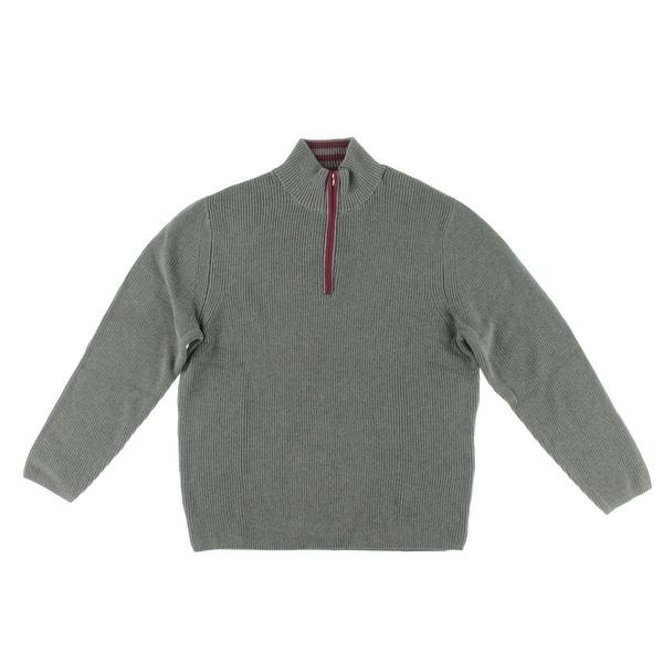Alex Stevens Mens Mock Turtleneck Sweater Contrast Trim 1/4 Zip