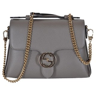 Gucci 510302 Grey Leather Interlocking GG Clasp Convertible Purse Handbag