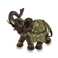 Exotic Wood Look and Gold Finish Trunk Up Thai Elephant Statue