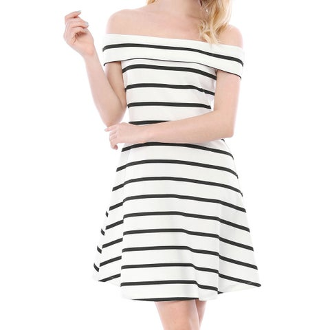 Allegra K Women Striped A-Line Off The Shoulder Mini Summer Dress - Black White