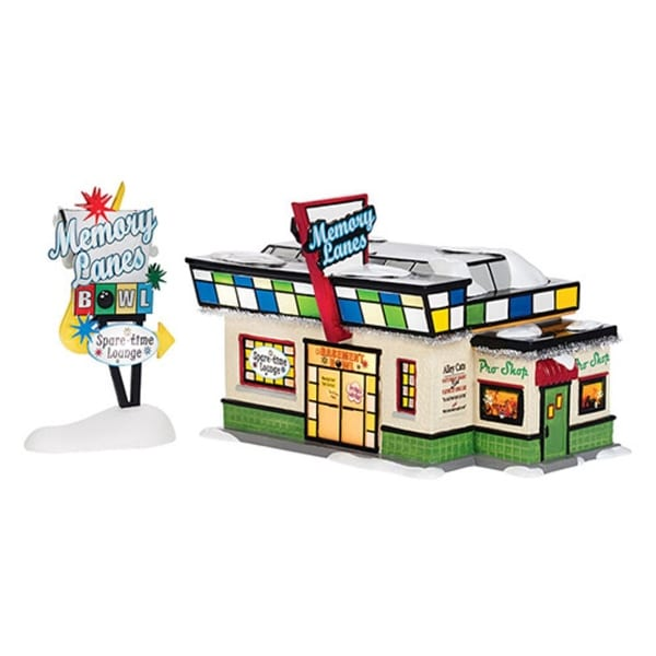 """Department 56 Snow Village """"Memory Lanes Bowling"""" Lighted Building Set #4036567"""