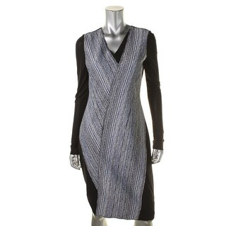 Elie Tahari Womens Cara V-Neck Long Sleeves Formal Dress