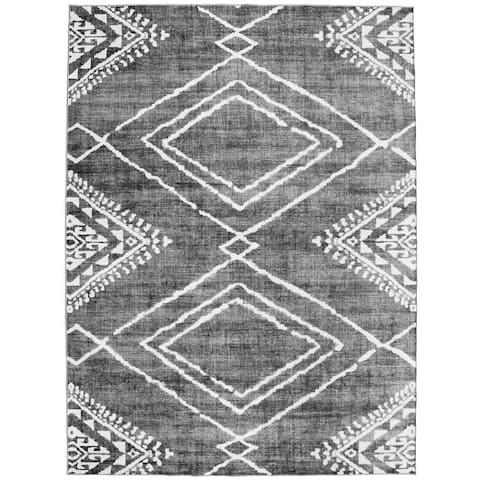 Machine Washable - Moroccan Diamond - Gray - 4' x 6' - 4' x 6'