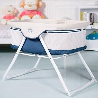 BabyJoy Foldaway Baby Bassinet Crib Newborn Rocking Sleeper Traveler Portable /Bag Beige