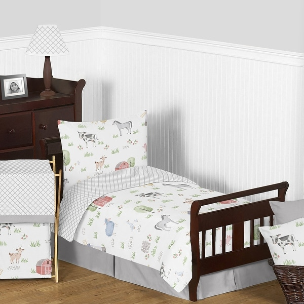 Farm Animals Collection Boy Girl 5-piece Toddler-size Comforter Set - Watercolor Farmhouse Lattice Horse Cow Sheep Pig. Opens flyout.