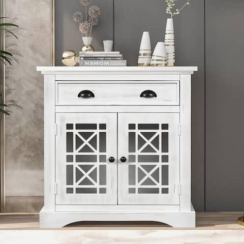 Retro Storage Cabinet wih Doors and Big Wood Drawer