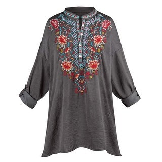 Catalog Classics Women's Aztec Embroidered Tunic Top - Henley-Style Button Shirt