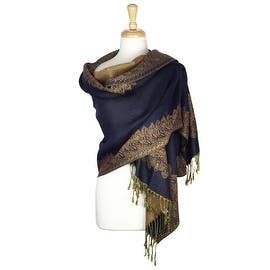 Pashmina Shawl Scarf Wrap Border Pattern Double Layered Reversible|https://ak1.ostkcdn.com/images/products/is/images/direct/d674cb9c267b6b2861d7522db37f97feb6295f5c/Pashmina-Shawl-Scarf-Wrap-Border-Pattern-Double-Layered-Reversible.jpg?impolicy=medium