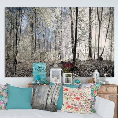 Designart 'Dark Morning in Forest Panorama' Large Canvas Art Print - Multi-color