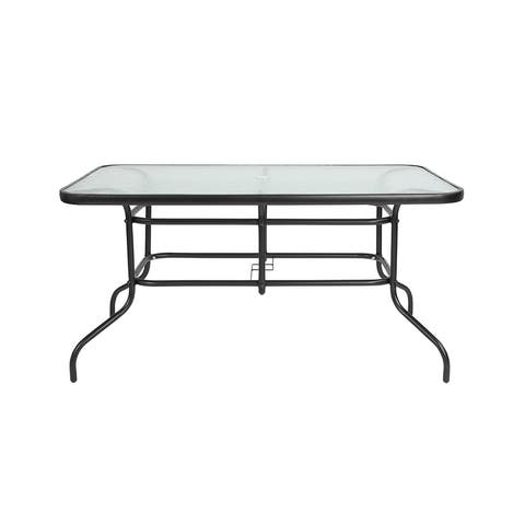 """Offex Patio Lawn Rectangular Tempered Glass Metal Table - 31.5""""W x 55""""D"""