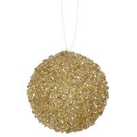 "3ct Gold Sequin and Glitter Drenched Christmas Ball Ornaments 4.75"" (120mm)"