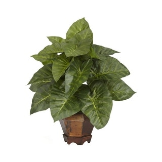 Nearly Natural Taro with Vase Silk Plant Green