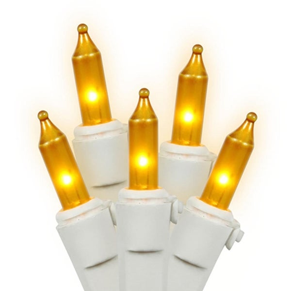 Set of 100 Opaque Gold Mini Christmas Lights - White Wire