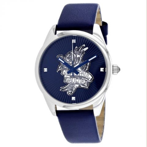 Jean Paul Gaultier Women's 8502413 'Navy Tatoo' Blue Leather Watch