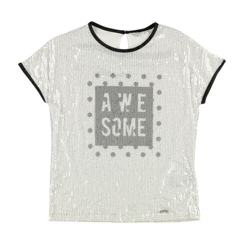 GUESS Womens A WE SOME Graphic T-Shirt, White, 16