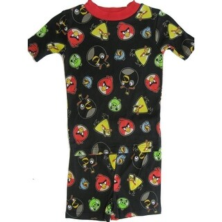 Angry Birds Little Boys Black Allover Bird Face Print 2 Pc Sleepwear Set 4-6